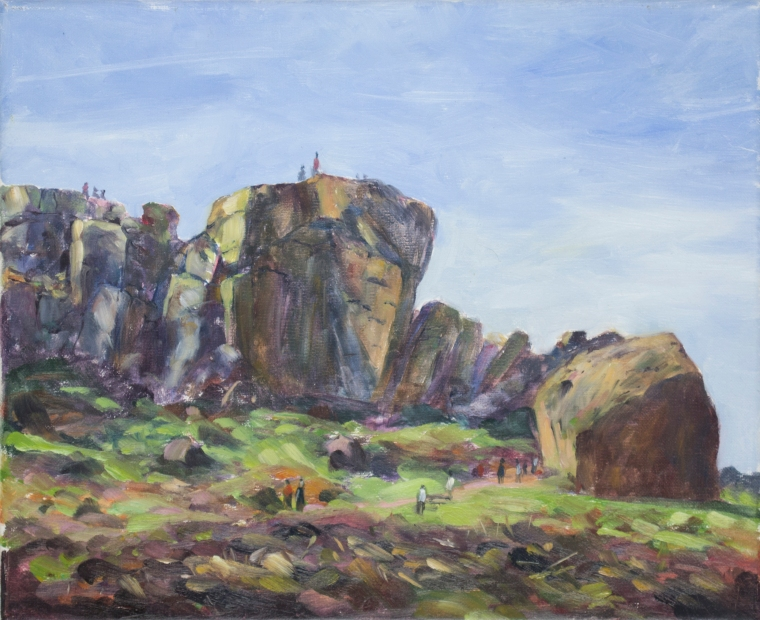 Cow and Calf Rocks, Ilkley Moor, Painting Rachel Hinds